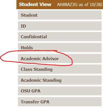 This image is a screen grab of the MyDegrees checklist page that shows advisor assignements